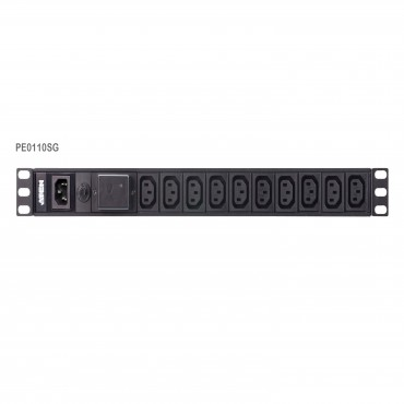 Aten 10 Port 1U Basic Pdu With Surge Protection Supports 10A With 10 Iec C13 Outputs Pe0110Sg-At-G
