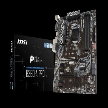 Msi B360-a Pro Atx Motherboard - S1151 8gen 4xddr4 6xpci-e 1xm.2 4xusb3.1 2xusb2.0 1xdp 1xdvi B360-a