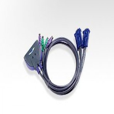Aten Petite 2 Port PS2 KVM 3 Feet Cables built in CS62SZ-AA