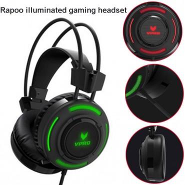 RAPOO VH200 Illuminated RGB Glow Gaming Headphones - 16m Colour Breathing Light, Hidden Noise-Cancelling