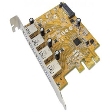 Sunix Usb4300Ns Pcie 4-Port Usb 3.0 Card (Sata Power Connector) Usb4300Ns