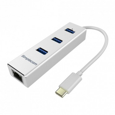Simplecom Aluminium Type-C(Usb-C) To 3 Port Usb 3.0 Hub With Gigabit Ethernet Adapter Silver Chn411 Silver