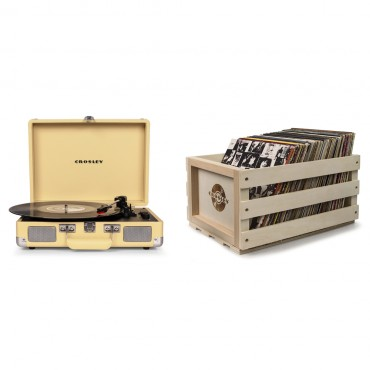 Crosley Cruiser Deluxe Portable Turntable - Fawn + Free Record Storage Crate Cr8005D-Fw4