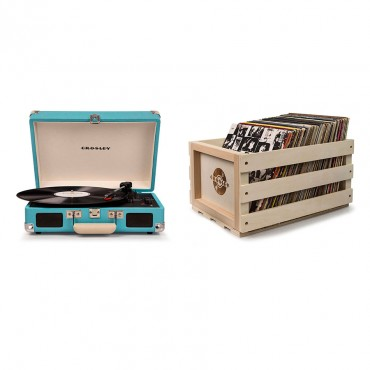 Crosley Cruiser Deluxe Portable Turntable - Turquoise + Free Record Storage Crate Cr8005D-Tu