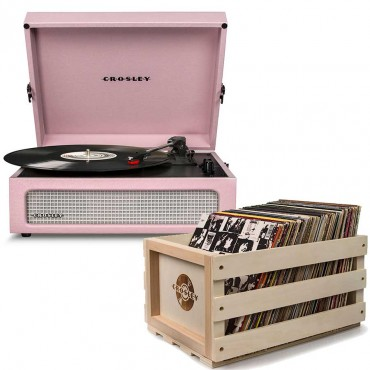 Crosley Voyager Portable Turntable - Amethyst + Free Record Storage Crate Cr8017A-Am4