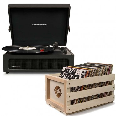 Crosley Voyager Portable Turntable - Black + Free Record Storage Crate Cr8017A-Bk4