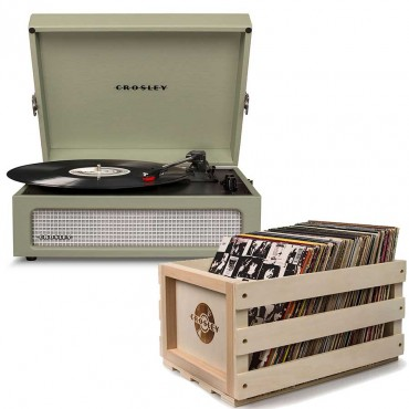 Crosley Voyager Portable Turntable - Sage + Free Record Storage Crate Cr8017A-Sa4