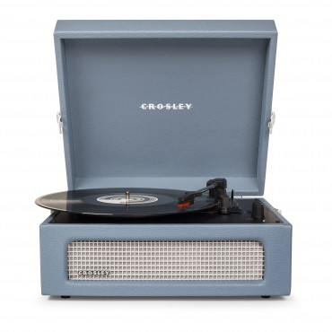 Crosley Voyager Portable Turntable - Washed Blue + Free Record Storage Crate Cr8017A-Wb4