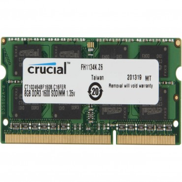 Crucial 8gb Ddr3l Notebook Memory 1600mhz 1.35v/ 1.5v Life Wty Ct102464bf160b-hs