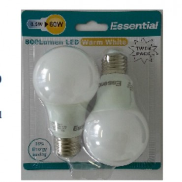 Jadens Twin Pack Led: Essential E27 8.5w (60w) 800 Lumen Led Light Warm White 85% Energy Saving