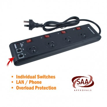 4 Way Powerboard With Individual Switches Elelegpb4swblck_b