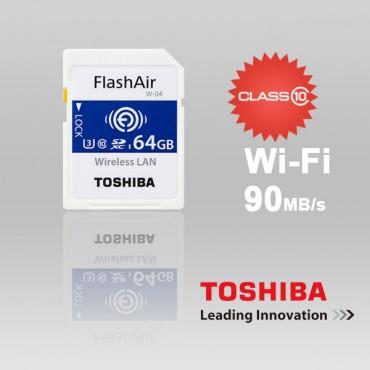 Toshiba 64GB THN-NW04W0640C6 FlashAir SDHC W-4 CL10 (New) 90R 70W FFCTOS64GAIR04-1