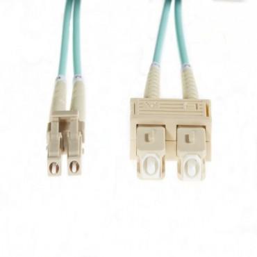 2M Lc-Sc Om4 Multimode Fibre Optic Duplex Patch Lead: Aqua Fl.Om4Lcsc2M