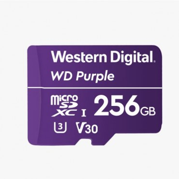 Western Digital WD Purple 256GB MicroSDXC Card 24/7 -25°C to 85°C Weather & Humidity Resistant for Surveillance IP Cameras mDVRs NVR Dash Cams Drones Wdd256G1P0A