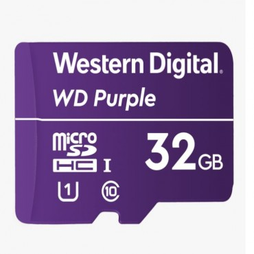 Western Digital WD Purple 32GB MicroSDXC Card 24/7 -25°C to 85°C Weather & Humidity Resistant for Surveillance IP Cameras mDVRs NVR Dash Cams Drones Wdd032G1P0A