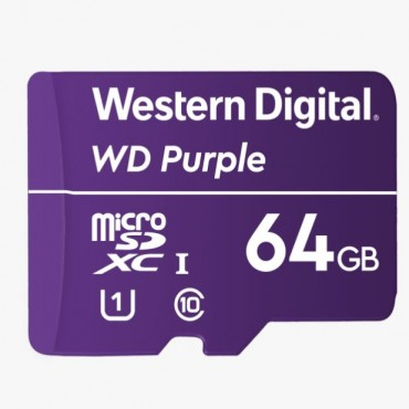 Western Digital WD Purple 64GB MicroSDXC Card 24/7 -25°C to 85°C Weather & Humidity Resistant for Surveillance IP Cameras mDVRs NVR Dash Cams Drones Wdd064G1P0A