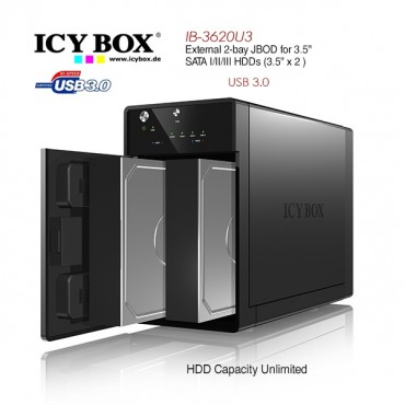 Icy Box Ib-3620 External 2 Bay Jbod System For 3.5' Sata I/ Ii/ Iii Hdds Hddicy3620u3a