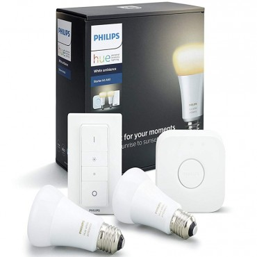 Philips Hue White Ambiance E27 Starter Kit A19, Compatible with Amazon Alexa, Apple HomeKit and Google Assistant