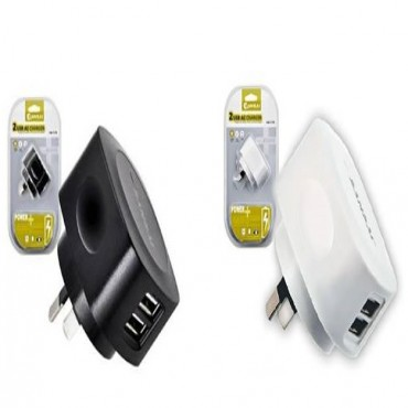 Sansai 2 Usb Outlet Ac Charger 5v 2.1a Output Max For Smartphones Tablets Ipad Iphone Ipod Cameras