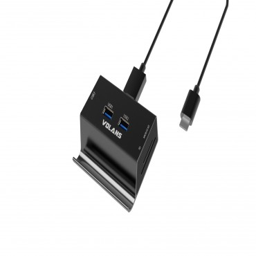 VOLANS VL-HB03R-C Aluminium USB-C to 3xUSB3.0 Hub + Multi Card Reader with Phone & Tablet Stand (VL-HB03R-C)