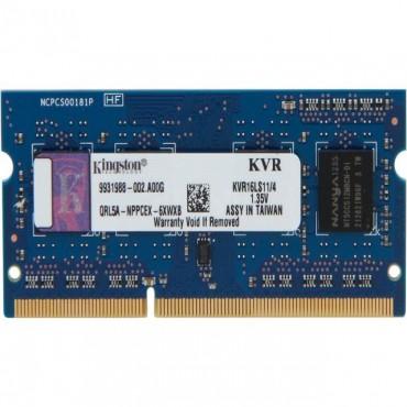 Kingston SINGLE CHANNEL SO-Dimm: 4GB DDR3L 1600MHz Low voltage Non-ECC CL11 1.35V KVR16LS11/4