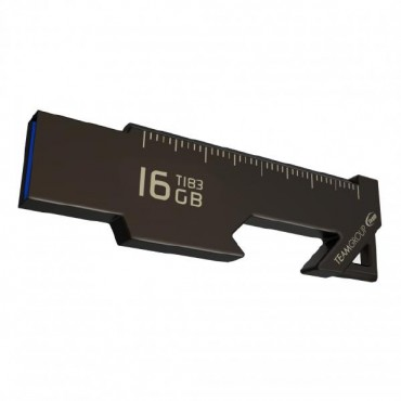 Team Group Usb Drive 16Gb T183 Usb3.1 Ruler & Bottle/ Box Opener Nickel Black Capless 85Mb/ S Read