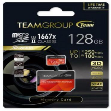 Team Group Xtreem 128GB Micro SDXC UHS-II U3 Read up to 250MB/ s Write up to 100MB/ s TCUSDX128GUHSII44