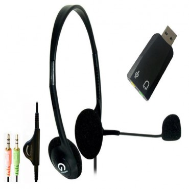 Shintaro Light Weight Headset With Microphone Plus Usb Audio Adapter With 3.5Mm Headphone And Microphone JackSh-102M+Sh-120