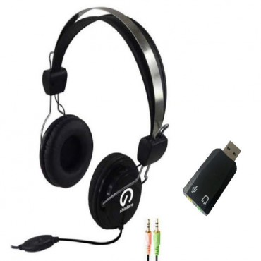 Shintaro Stereo Headset With Inline Microphone Plus Usb Audio Adapter  Sh-105M+Sh-120