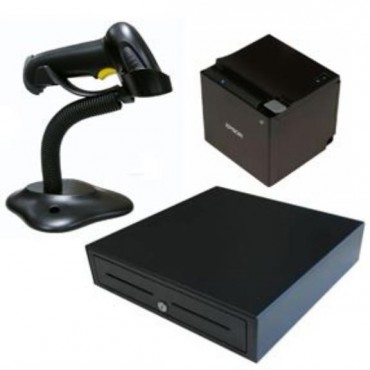 Epson Tm-M30With Built-In Usb Ethernet Bt Ios Bundle With Birch Cash Draw And Barcode Scanner