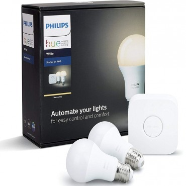 Philips Hue White Smart LED Starter Kit A60, Compatible with Amazon Alexa, Apple HomeKit and Google Assistant
