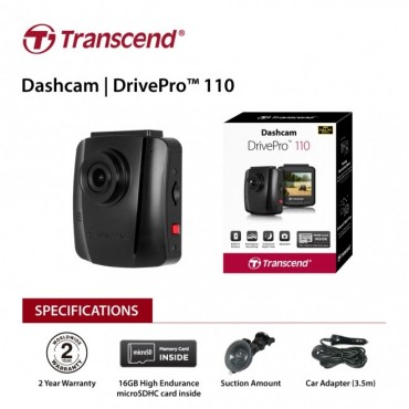 "Transcend 32G Drivepro 110 2.4"" Lcd With Suction Mount Ts-Dp110M-32G Eletradp110M-2"