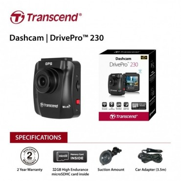 "Transcend 32G Drivepro 230 2.4"" Lcd With Suction Mount Ts-Dp230M-32G Eletradp230M32G-1"