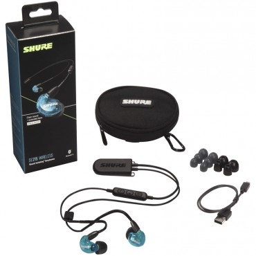 Shure SE215 Wireless Sound-Isolating Earphones, Bluetooth 5.0 Cable, Special Edition Blue SE215SPE-B+BT2