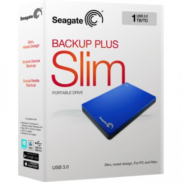 Seagate Backup Plus Slim 1tb Portable External Hard Drive Usb 3.0 Royal Blue With 200gb Of Cloud Storage & Mobile Device Backup Stdr1000302