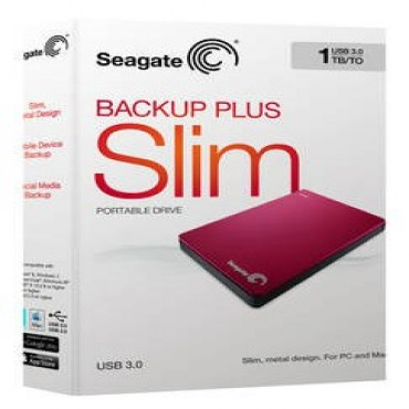 "Seagate Stdr1000303 Backup Plus Slim, 1tb, Usb3.0, 2.5"" Ext, Ruby Red"
