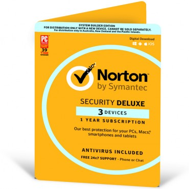 NORTON SECURITY DELUXE 3.0 AU 1 USER 3 DEVICE 12MO CARD ATTACH 21368742