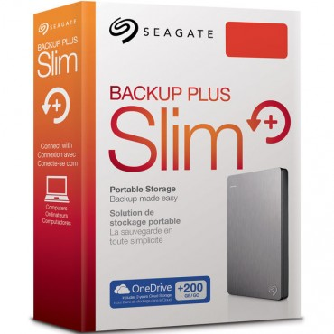 Seagate Backup Plus Slim 1tb Usb3.0 Portable External Hard Drive With Mobile Device Backup Silver