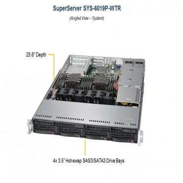"""BizCor 1RU Workstation, Xeon Silver 4110 (1/2) 32GB RDIMM (1/12) 4 x 3.5"""" HDD HS, 1RU-6019P"""