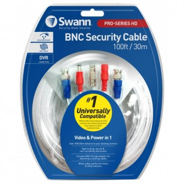 SWANN 30M / 100FT BNC EXTENSION CABLE WIDE COMPATIBILITY 960H/AHD/TVI SWPRO-30MTVF-GL