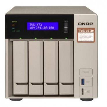 QNAP TVS-473E-4G 4 BAY NAS (NO DISK) m.2 SSD SLOT(2) 4GB RX-421BD GbE(4) HDMI TWR 2YR TVS-473E-4G