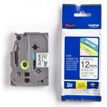 Brother: 12mm BLACK on WHITE TZE Tape x 8m TZE-231
