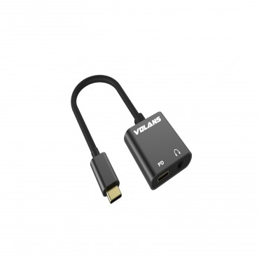 VOLANS Aluminium Type-C Usb-C (Male) To 3.5Mm Audio (Female) Adapter With Pd Vl-Ucap