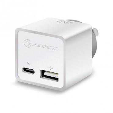 Alogic 2 Port Combo Usb-C & Usb-A Mini Wall Charger 3A + 2.4A - White Wcca17Mwh