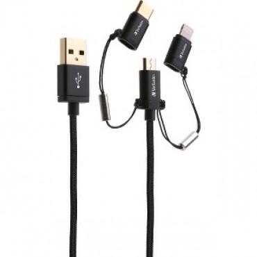 Verbatim Metallic Charge&sync 3-in1 Micro+lightning+usb-c -grey 120cm 65385