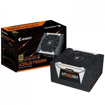 Gigabyte Ap850gm Aorus 850w Atx Psu Power Supply 80+ Gold >90% Modular 135mm Fan Black Flat Cables