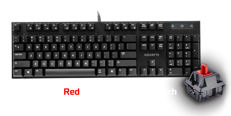 Gigabyte FORCE K81 Mechanical Gaming Keyboard Cherry MX Red Switch Anti-ghosting Function & Windows-lock