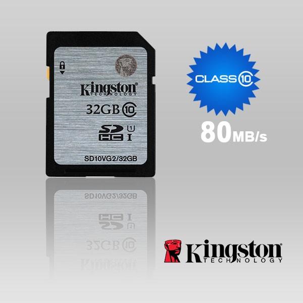 Kingston Technology SD10VG2/32GBFR, 32GB SDHC CLASS10 UHS-I 80MB/S READ FLASH CARD FAR EAST RETAIL