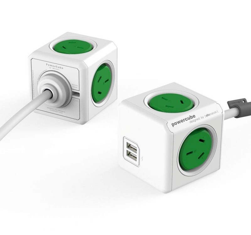 Image 1 of Allocacoc PowerCube 4 Power Outlets & 2 USB, 3m Extended Cable, Green 5404/AUEUPCGREEN 5404/AUEUPCGREEN