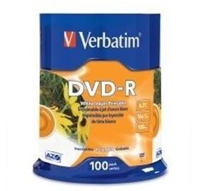Image 1 of Verbatim Dvd-r 4.7gb 16x White Inkjet 100pk Spindle 95153 95153